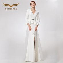 CONIEFOX 32639 white V-neck Fashion sexy mermaid Ladies Retro elegance  Appliques prom dresses party evening dress gown long 2018 f8f8e0f145c9