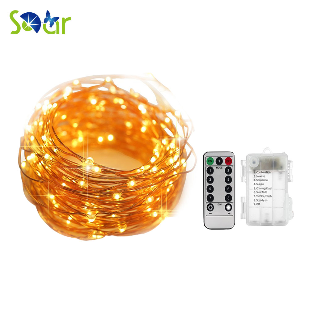 Fairy String Lights Battery Operated Waterproof 8 Modes 50 LED String Lights 16.4FT Copper Wire Firefly Lights Remote Control