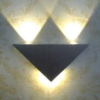 Modern Lâmpada Led Wall 3 W Corpo de Alumínio Triângulo Luz de Parede Para O Quarto Casa de Iluminação Luminária Luz Do Banheiro Parede do Dispositivo Elétrico arandela