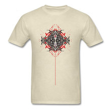 Abstract Lines T Shirts For Men Geometric Design T-shirt 2018 New Cotton Tops Beige Tees Short Sleeve Clothing Vintage Tshirt