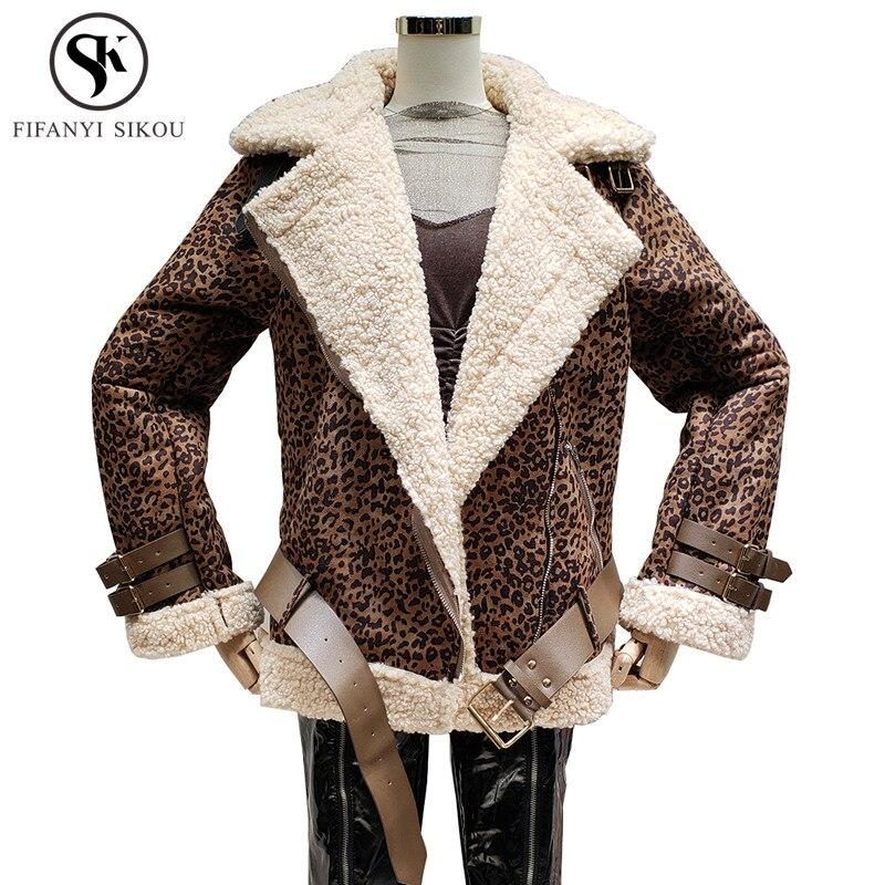 New 2018 Winter Suede Leather Jacket Women Fashion Leopard Lambswool Coat Loose Biker jacket Female Warm Lambs Wool Coats Tide