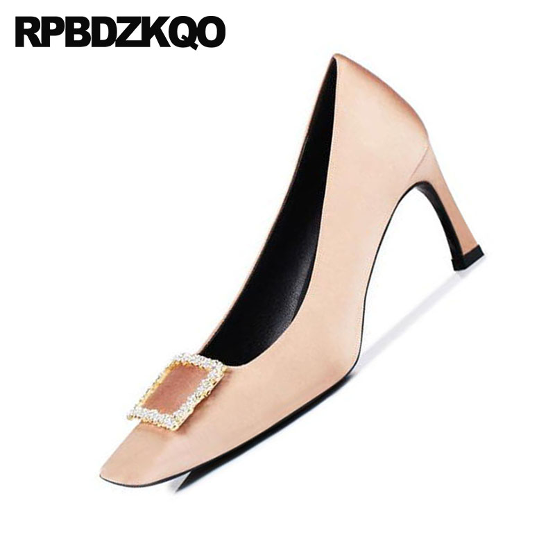 Bombas Cuadrado Dedo Sexy Noche Pie Otoño Cristal Señoras Del Zapatos Alta De Scarpin Mujer Tamaño Talones Champagne 4 2018 34 qEv6EAw7