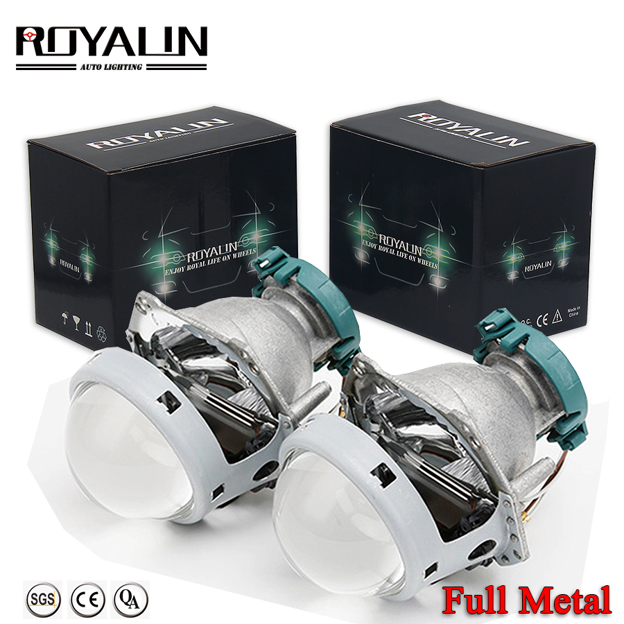 ROYALIN Metal Hella 3R G5 Bi Xenon Headlights Lens D2S Lights Projector Universal Car Lamp D1S D2H D3S D4S Bulbs Motors Retrofit