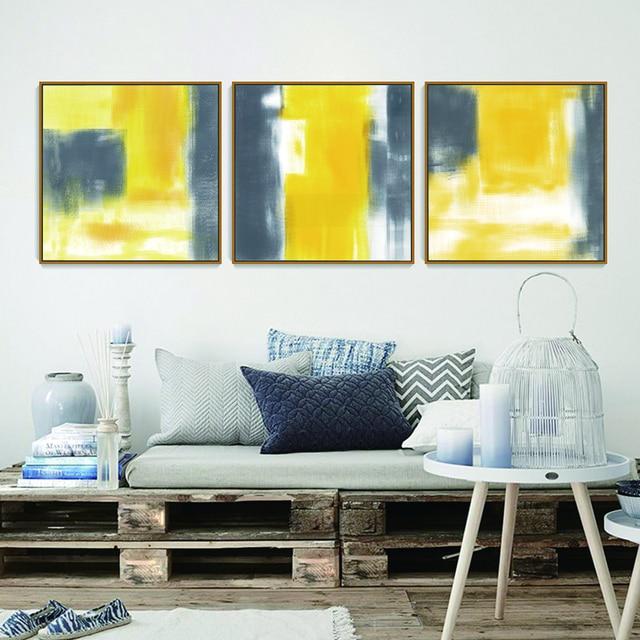 sans cadre nordique style abstraite toile art imprimer peinture affiche de jaune et gris. Black Bedroom Furniture Sets. Home Design Ideas
