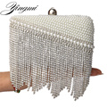 Tassel pearl women bag clutch diamonds beaded evening bags wedding bridal vintage leather shoulder bags handmade tote