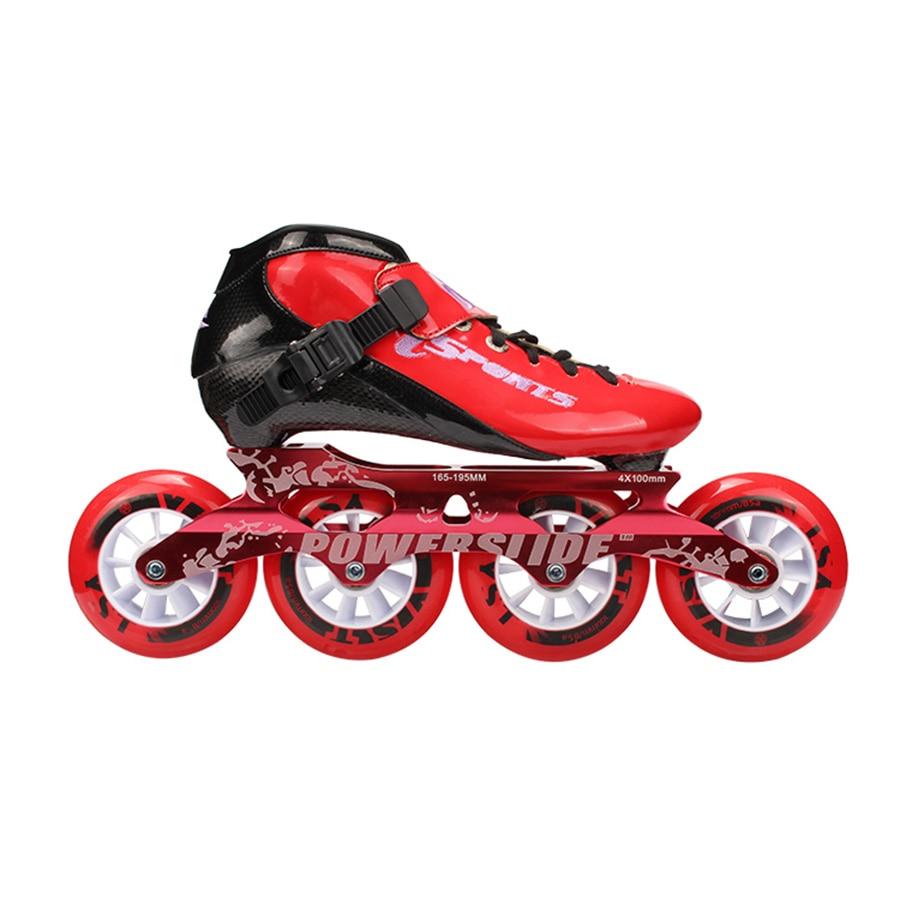Patins à roues alignées de vitesse professionnel en Fiber de carbone 4*100/110mm patins de compétition 4 roues Patines de course similaires Powerslide