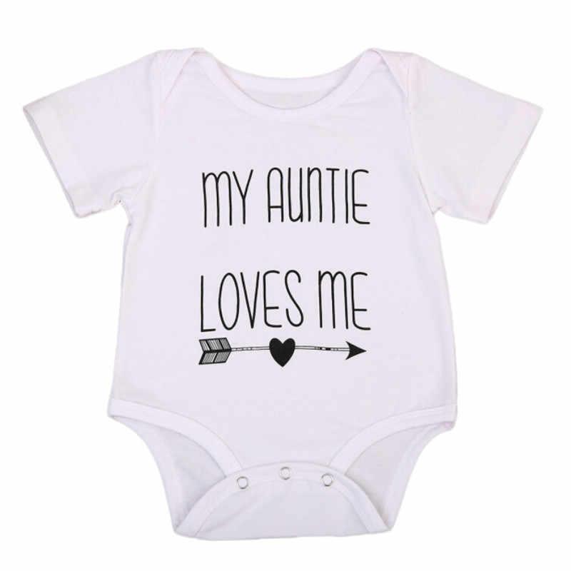 FOCUSNORM My Auntie Love Me Ragazze Del Neonato Tuta Tuta Vestiti di Cotone Outfit Dimensione 0-18 M