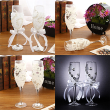 2pcs Set Wedding Glass Creative Pearl Flower Crystal Champagne Glasses Toasting Goblet Red Wine Decoration