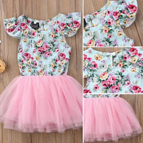 Toddler Kids Baby Girls Flower Dress Party Flying Sleeve A-line Dress Patchwork Tutu Tulle Dresses Clothes