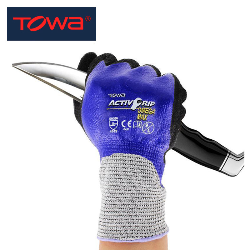 TOWA Safety Work Gloves Anti-slip Anti-cut Wear-resistant Non-slip Coating Protective Gloves For Fishing Catch Fish Crab Lobster