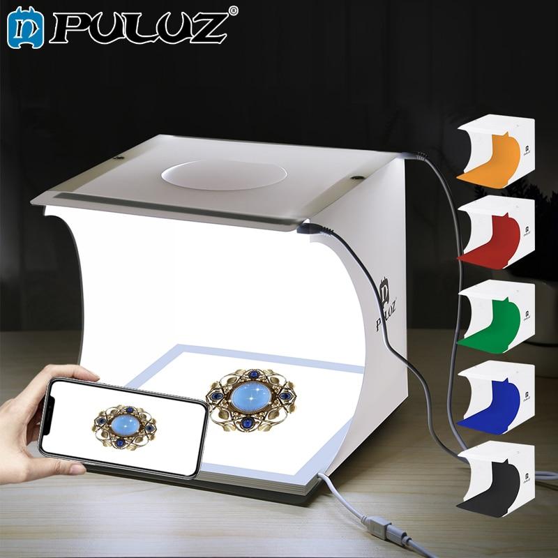 PULUZ Mini Photo Boîte Studio lampe de lumière Sans Ombre PPanel Pad + Studio Tente Tir Blanc Boîte à Lumière Tente Boîte Kit 6 couleurs Bacdrops