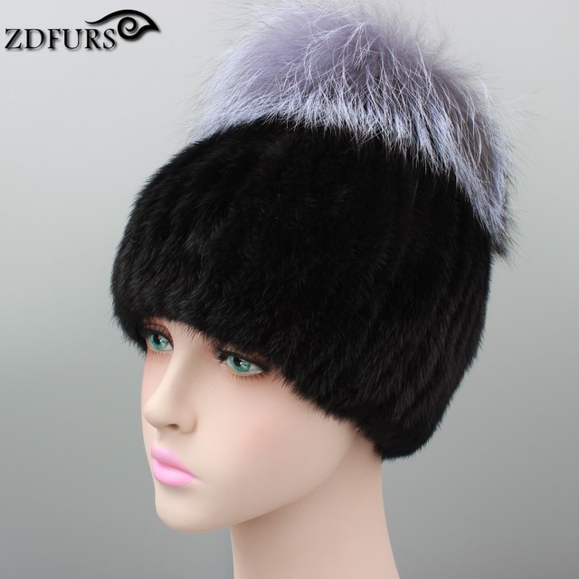 ZDFURS * Russia winter hats for women genuine mink fur hat with whole silver fox fur top beanies high-end female cap