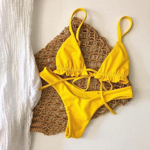 741175d7f153 € 4.82 5% de DESCUENTO Bikini de tirantes de cintura baja 2019 mujer mini  tanga amarillo bikini brasileño sexy traje de baño mujeres traje de baño ...