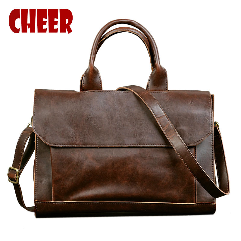 2017 Hot men bag men Crazy horse skin cross-section handbag Business briefcase Shoulder Messenger Leisure package Computer bag ipad bag handbags male vertical section business briefcase men bag korean trendy men crazy horse bag messenger bag 2016 new