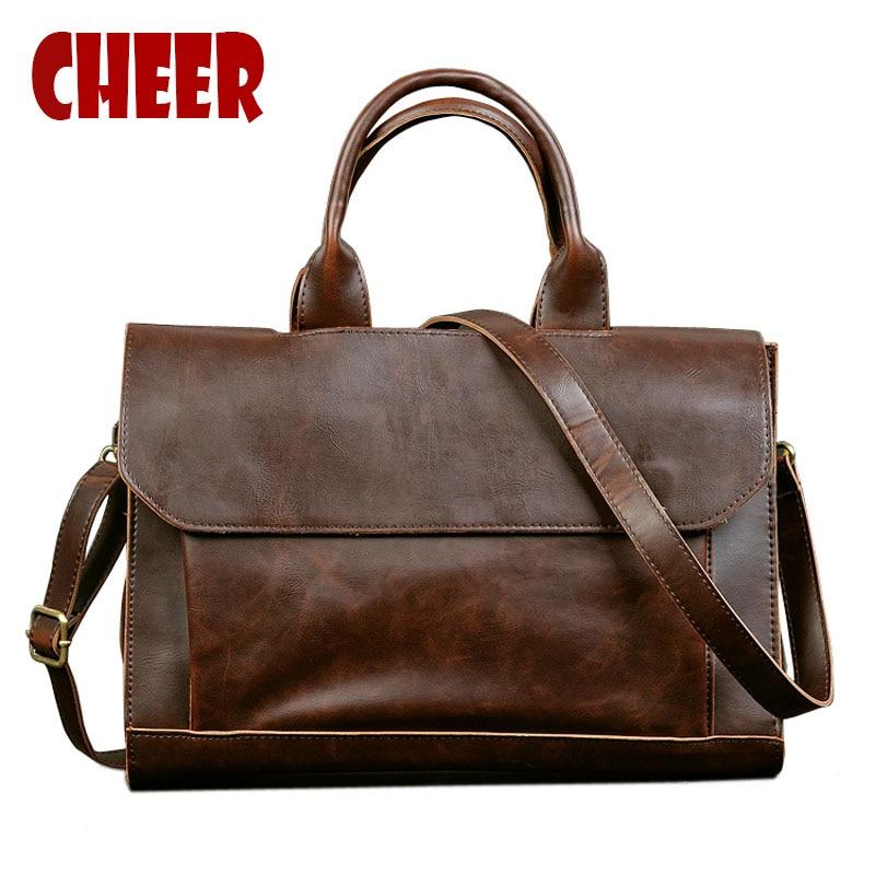 2019 Hot Business Briefcase  Men's Bag Crazy Horse Skin Cross-section Handbag Men Shoulder Messenger Bag Package Computer Bag