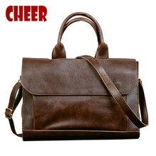 2020 Hot Business briefcase  mens bag Crazy horse skin cross section handbag men Shoulder Messenger bag package Computer bag