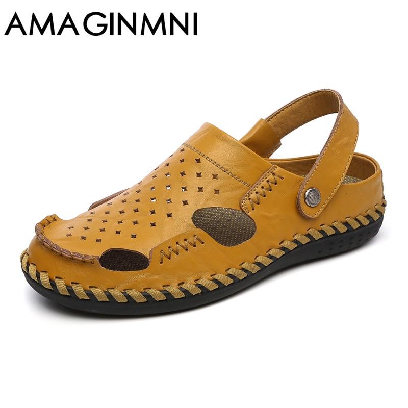AMAGINMNI Brand Genuine cow leather casual Sandals men shoes Fashion Summer men Shoes rubber sole Beach Flip flops man air vent