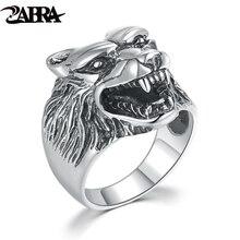 Zabra Роскошные одноцветное стерлингового серебра 925 Punk рев woft кольцо для мужчин Винтаж стимпанк Ретро властная Кольца Байкер мужской ювелирные изделия