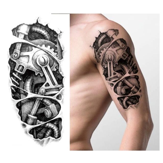 Temporary Tattoos Black Mechanical Arm Fake Transfer Tattoo Stickers Sexy Cool Men Spray Waterproof Design 3D Tattoos Sleeve