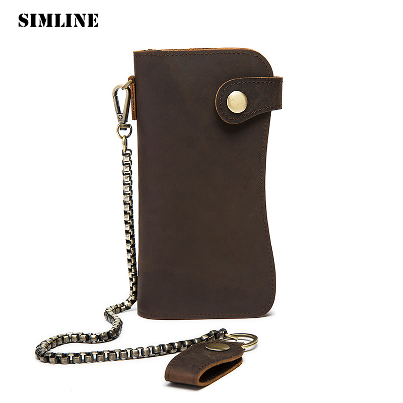 все цены на SIMLINE Genuine Leather Men Wallet Men's Long Vintage Crazy Horse Cowhide Chain Wallets Purse Zipper Coin Pocket Card Holder