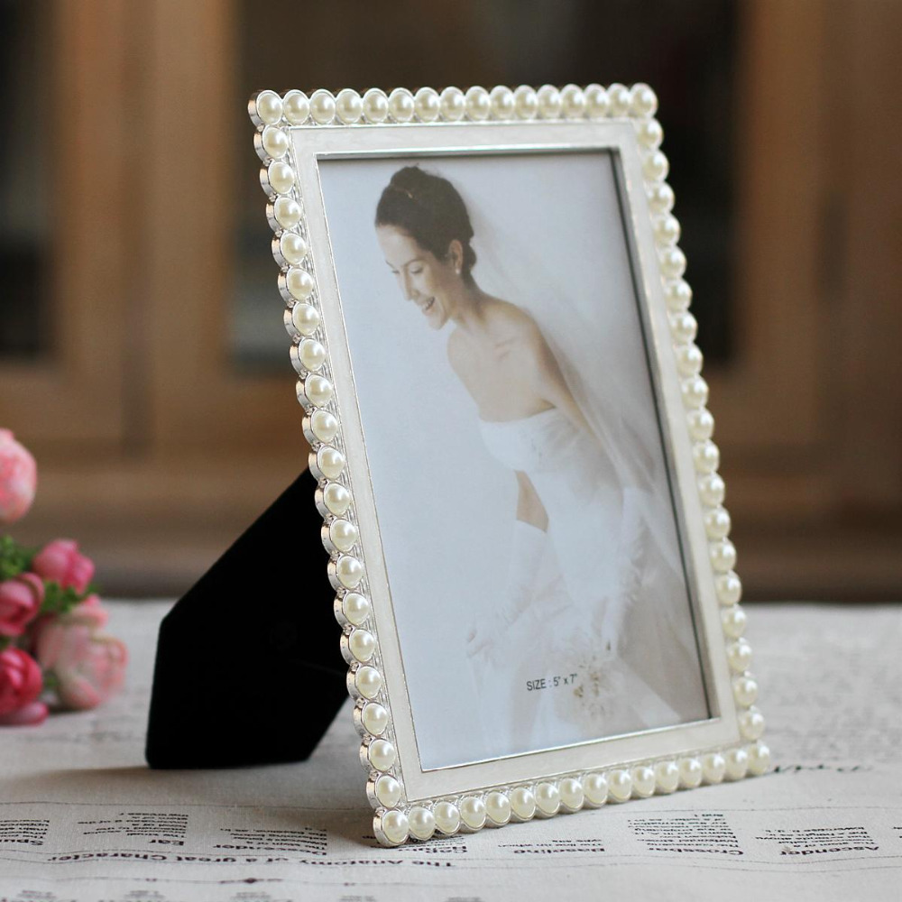 Family Picture Frame Classic Pearl Metal Frames Desktop Wedding ...