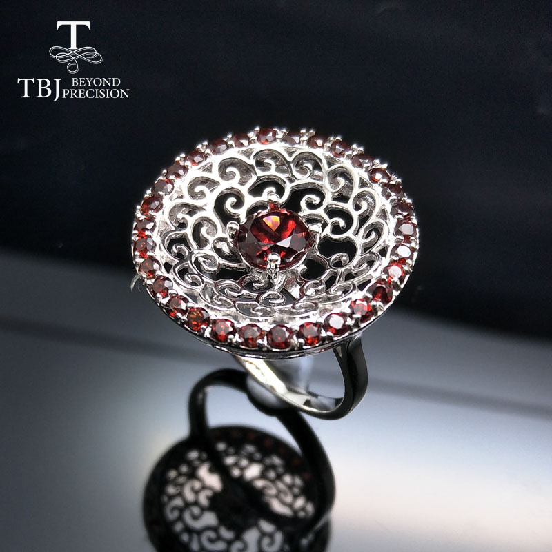 Tbj 2017 stylish Mozambique Red Garnet gemstone Ring in 925 sterling silver fine jewelry for lady