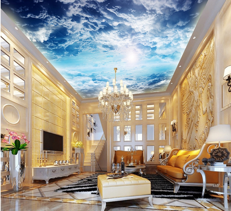 3D photo wallpaper 3D stereo large ceiling wall mural wallpaper background blue sky and white clouds wallpaper blue sky and white clouds ceiling murals wallpaper living room bedroom hotel 3d ceiling wallpaper background