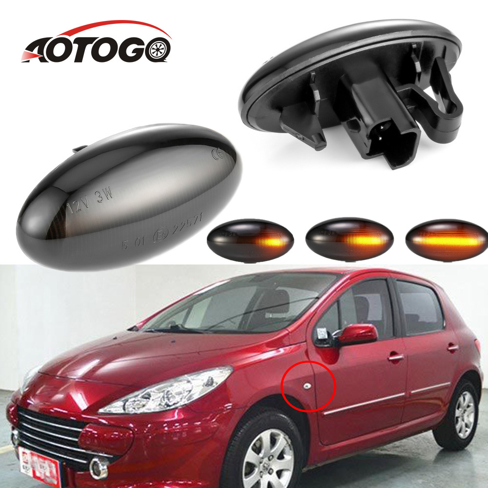 2 pieces <font><b>Led</b></font> Dynamic Side Marker Turn Signal Light Sequential Blinker Light For <font><b>Peugeot</b></font> 1007 C6 C5 C3 <font><b>207</b></font> 407 607 1007 206 307 image