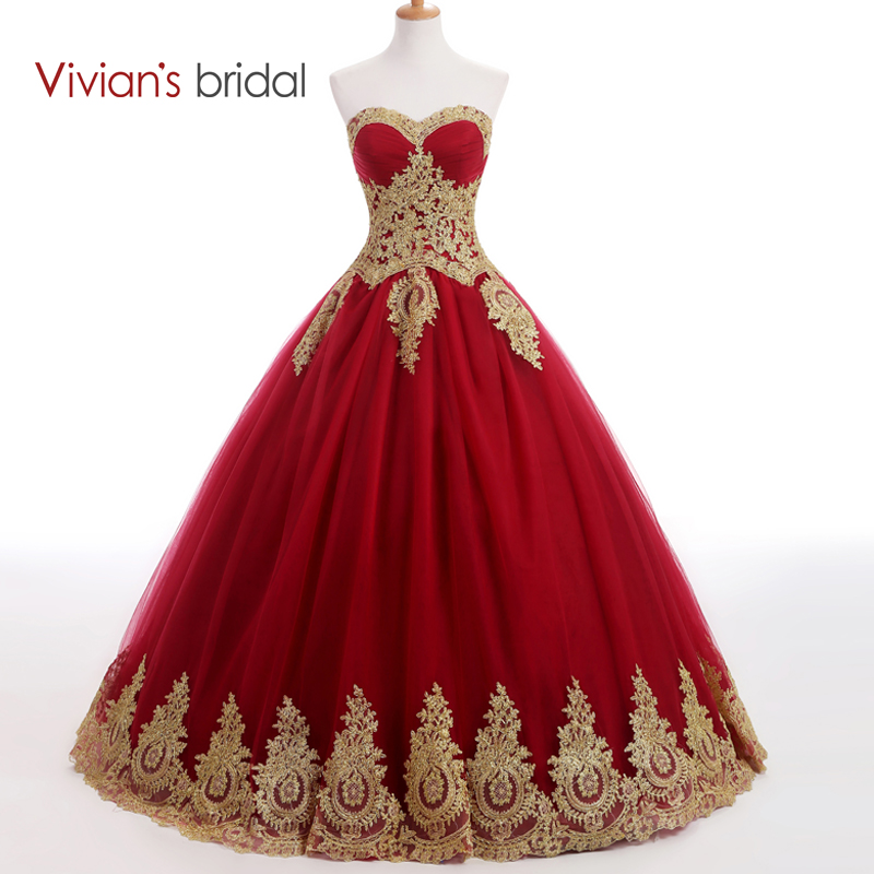 Robe de mariée bordeaux robe de soirée longue robe de bal en dentelle dorée Appliques robe de soirée musulmane Vivian