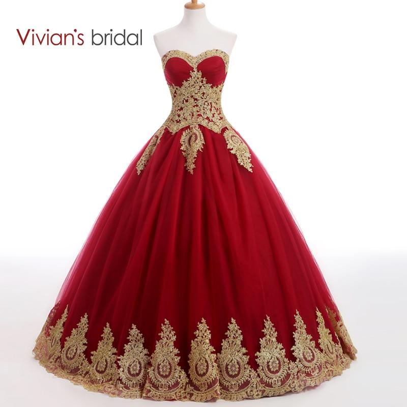 Vivian's Bridal Sweetheart Burgundy Bll Gown Evening Dress Long Prom Dresses Golden Lace Appliques Muslim Evening Gown