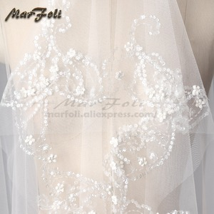 Image 4 - Wedding Veil 4 Meters Length 2.5M Width Real Image White\Ivory Sequins Bead Edge Cathedral Bridal Veils wedding accessories