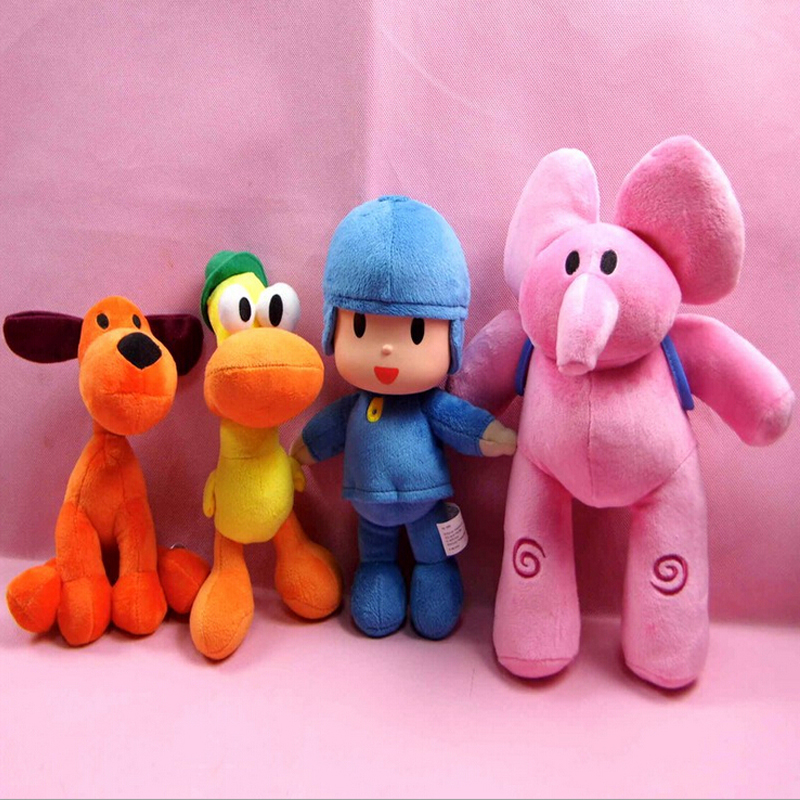 4pcs/lot Full Set Pocoyo Elly & Pato & POCOYO & Loula Plush Toy Soft Stuffed Animals Toys Doll For Kids Children Christmas Gifts