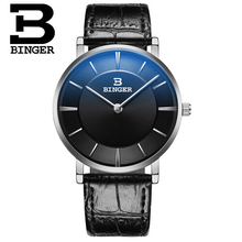 2016 Luxury Brand Binger Quartz watch Men Casual Military Sports Watches Black Leather Wrist Watch Male Relogio Masculino