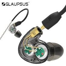 GLAUPSUS Dual SD2 Control Dinámico de Controladores En el cable de Alta Fidelidad En La Oreja Los Auriculares de Doble Desmontable Auricular Correr Deporte Auricular Subwoofer