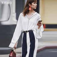 XITAO Patchwork Einfache Weiße Bluse Frauen Kleidung 2019 Büro Dame Drehen Unten Kragen Volle Hülse Shirt Top Herbst Neue WQR1237