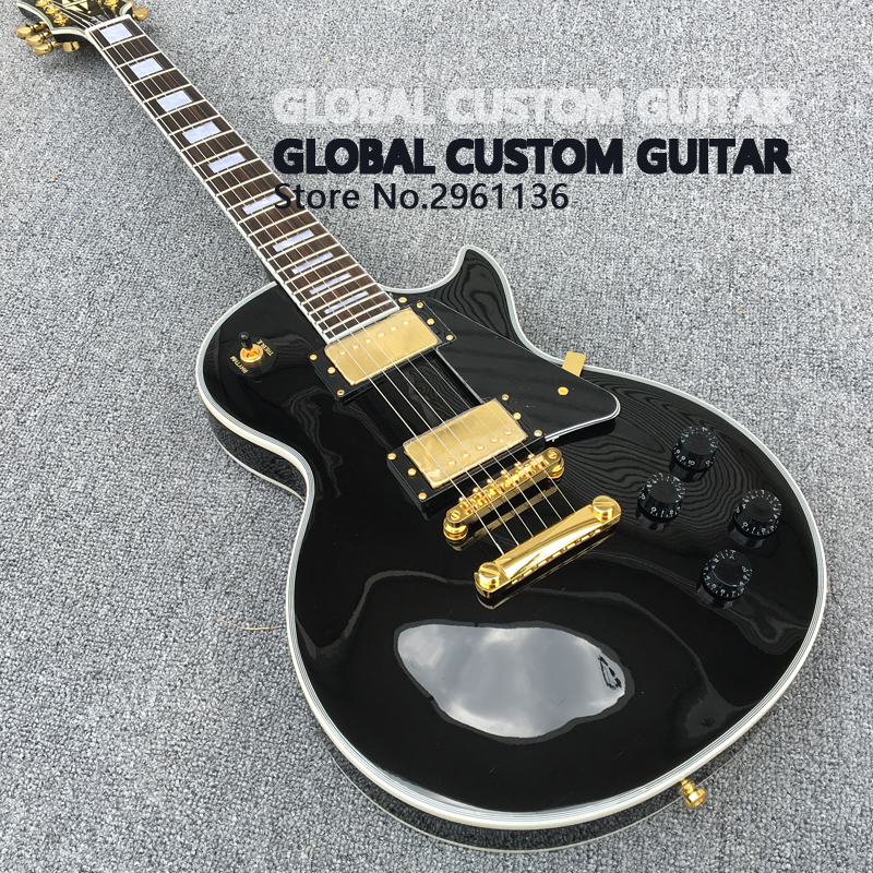 Custom LP Electric guitar in Classical piano black color , guitarra, All Color are Available, Wholesale,free shipping Hot! human free shipping hot guitar electric guitar good quality beautiful olp transparent black color guitar