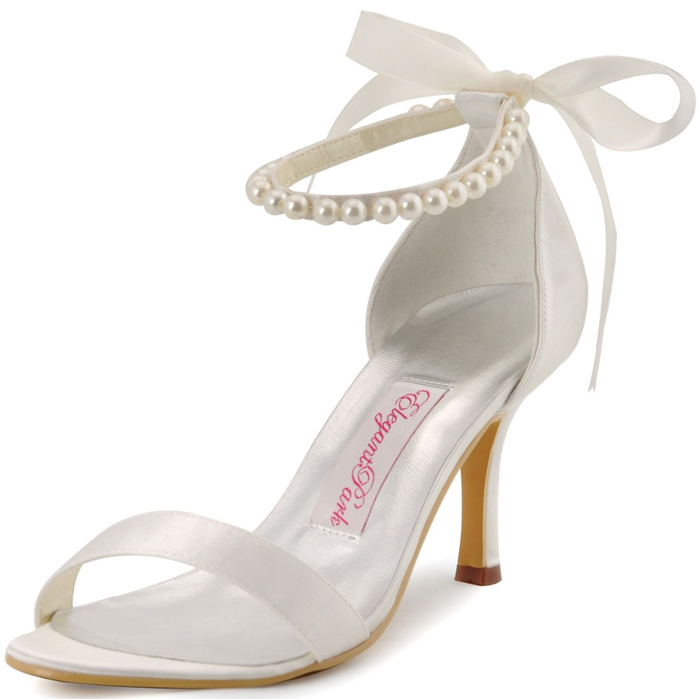 EP11053 Ivory White Women Shoes High Heels Peep Toe Party Bridal Sandals Pearls Ankle Straps Satin Bride Dress Wedding Shoes