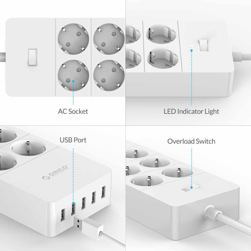 ORICO 전원 스트립 EU 미국 영국 플러그 6 콘센트 서지 보호기 EU 전원 스트립 5x2.4A USB 슈퍼 충전기 포트-흰색 (HPC-V1)