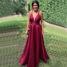Bbonlinedress New Arrival A-Line Prom Dress 2019 Sexy Backless V Neck Evening Burgundy gowns Robes de bal