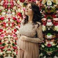 Нежно розовые ботильоны Длина Для женщин платья для беременных Длинные Squined рукава тюль Беременные платье О образным вырезом Дешевые плать