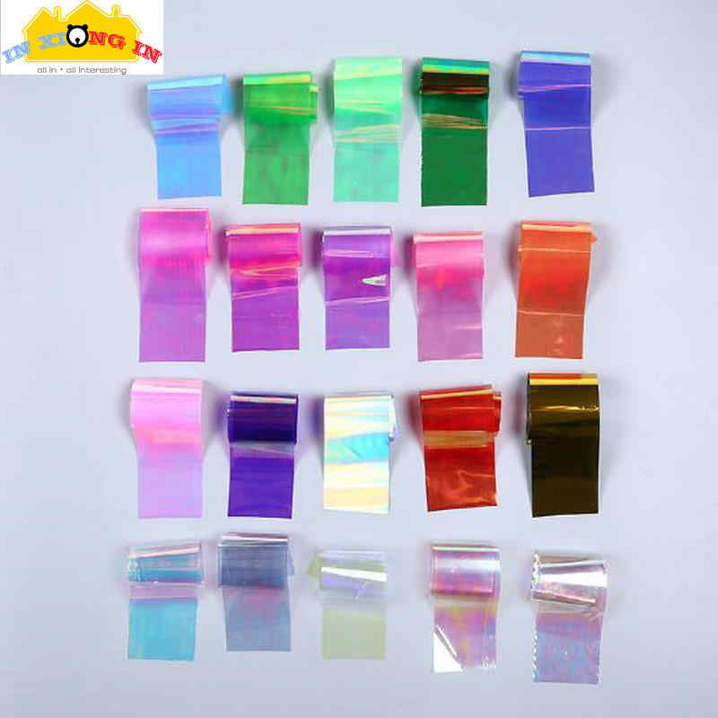 20colors Holographic Pearl Paper Laser Material Stuff DIY Craft Symphony Irregular Broken Glass Mirror Foil Nail Sticker