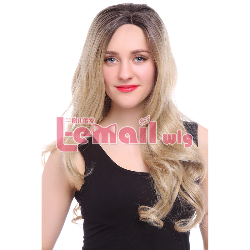 ФОТО Free Shipping 80cm Long Wave Ombre Honey Blonde Lace Front Wigs Synthetic