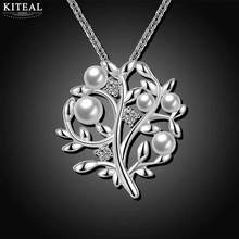New Fashion jewelry silver women necklace pendant Tree of life Imitation pearl colares love for elegant lady 925 stamp(China)