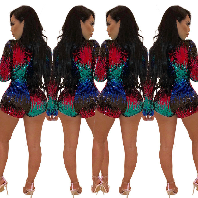 944913f54833 Charming Colorful Sequins Jumpsuit Rompers Women 2018 New Long Sleeve Sexy  Deep V Neck Bodysuit Xmas Party Nightclub Playsuits-in Rompers from Women s  ...