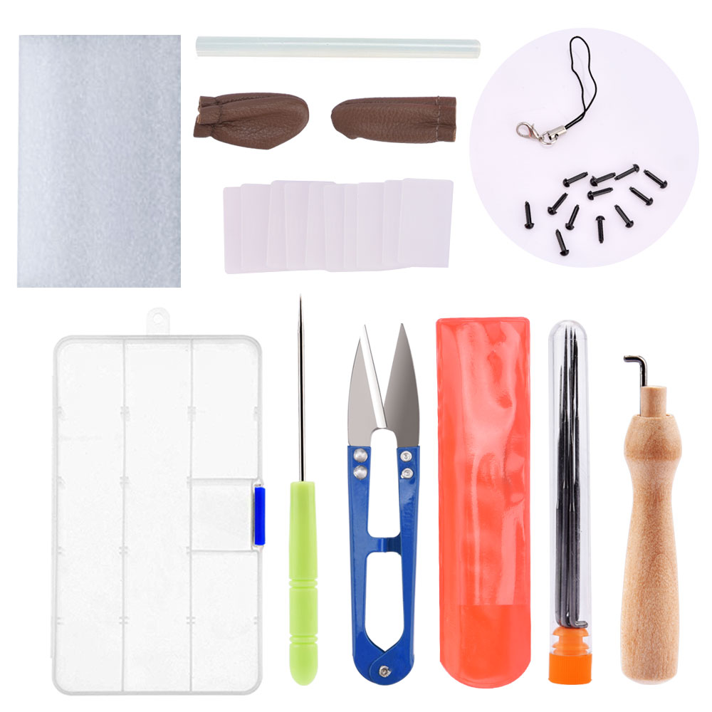Wool Felt Starter Kit Needle Felting Tool Set Felt DIY Package Felt Mat Scissor Box Doll Craft Creative Kit Needlework Accessory