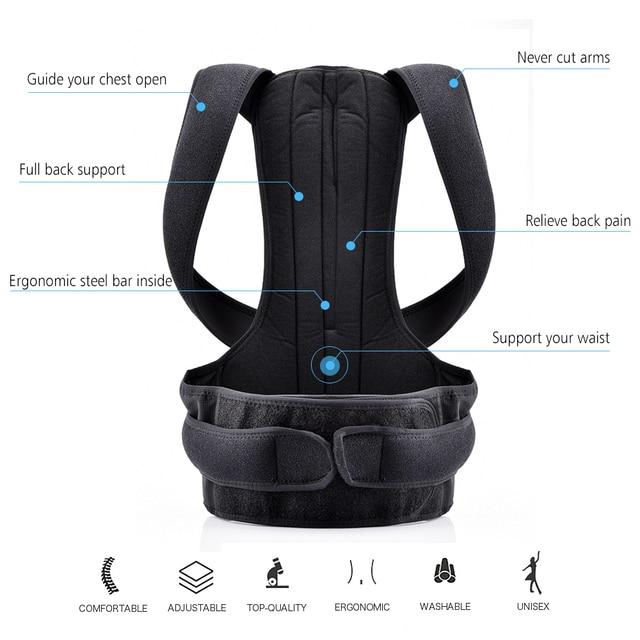 Back Posture Corrector Shoulder Lumbar Brace Spine Support Belt 3