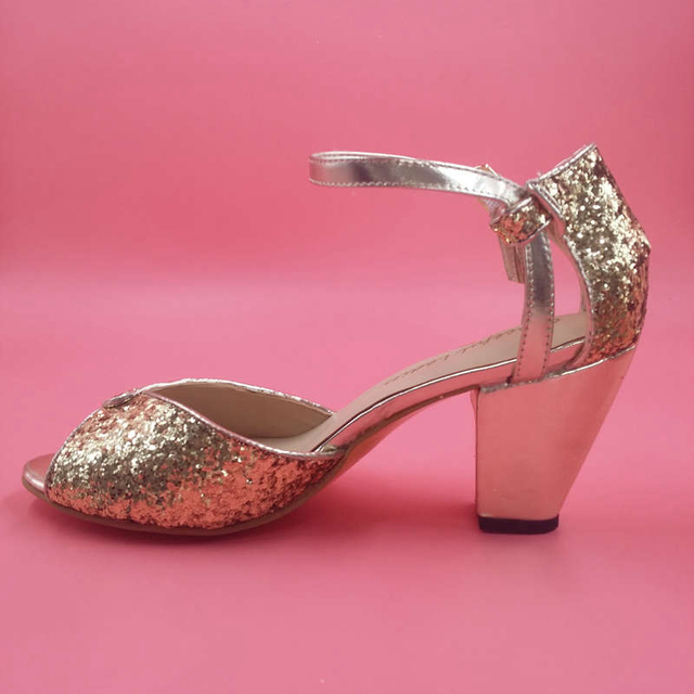 23b2431ea044 Gold Glitter Wedding Shoes Sandal Open Toe 2015 6cm Chunky Heel Wedding  Ankle Strap Party Dance Shoes Wrapped Heel Handmade
