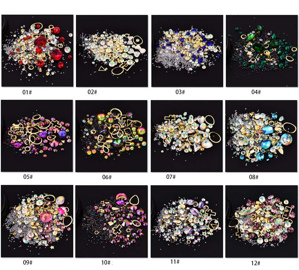 12 bottles 3D nail art rhinestones mixed size flat-bottomed tip diamonds  beads gemstone Nail Decorations Sticker Laser Glitter 0 8mm 20000pcs colorful mini nail art beads gardient rhinestones 3d tip decoration for nail uv gel manicure nail art decorations