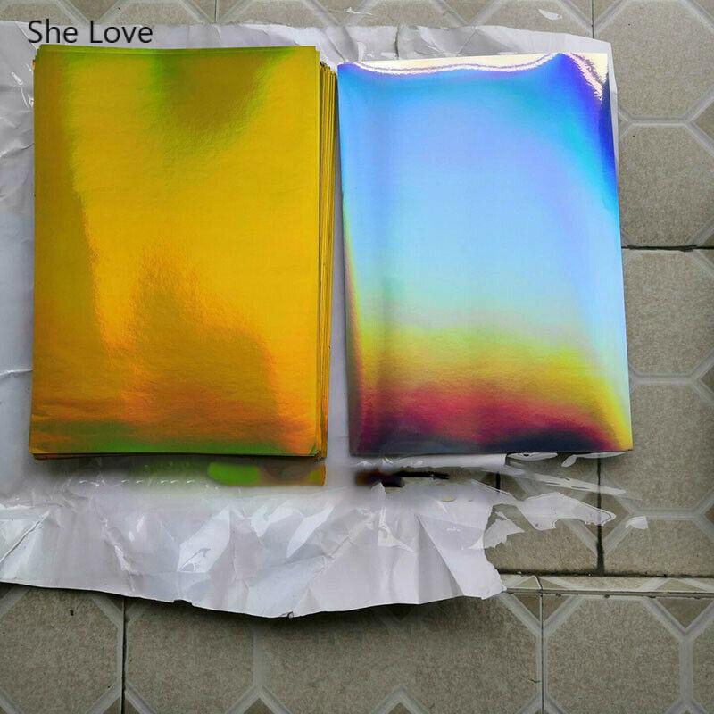 She Love 10Pcs lot A4 Glossy font b PET b font Self Adhesive Label Paper Gold
