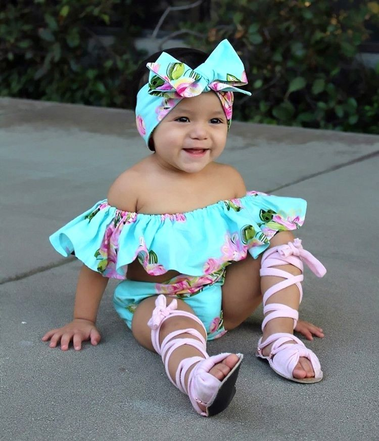 Children Girl Infant Clothing Floral Kids Baby Girls Off Shoulder Ruffle  Tops Romper Shorts Outfits Set Summer-in Clothing Sets from Mother   Kids  on ... c5207117e6